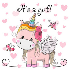 Baby shower greeting card with unicorn girl vector