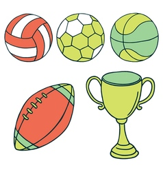 Balls and winner cup icons vector image