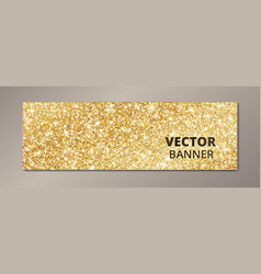 Banner with golden glitter background sparkling vector