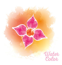 Beauty flower watercolor paint vector