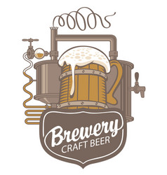 beer banner with production line and wooden mug vector image