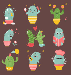 big set of cute cartoon cacti vector image