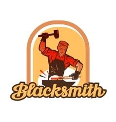 Blacksmith worker with sledgehammer striking vector