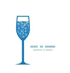 Blue white lineart plants wine glass vector
