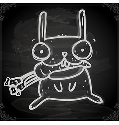Bunny Eating Carrot Drawing on Chalk Board vector