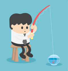 Businessman fishing in the empty fish tank vector