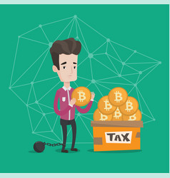 businessman putting bitcoin coin in box for taxes vector image