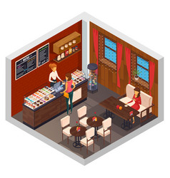 caffeteria restaurant isometric composition vector image