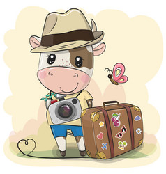 cartoon bull tourist in a hat with luggage vector image
