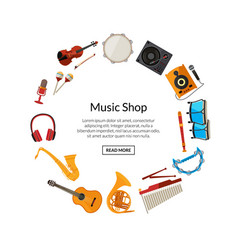 cartoon musical instruments in circle vector image