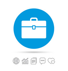 Case sign icon briefcase button vector