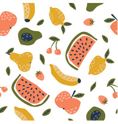 childish seamless pattern with cute fruits vector image