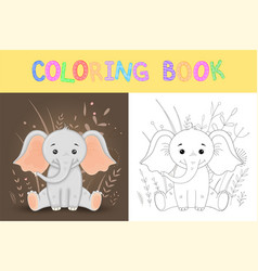 children s coloring book cute cartoon elephant vector image