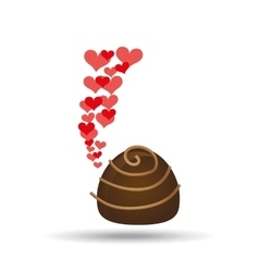 Chocolate candy hearts dessert icon vector