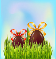 chocolate easter eggs hidden in green grass on vector image