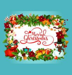 Christmas poster with frame of fir garland vector