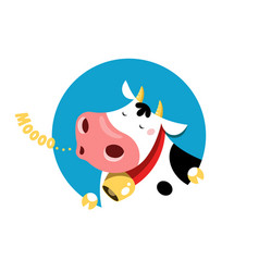 circle emblem a mooing cow vector image