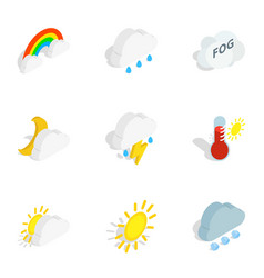 Climate icons isometric 3d style vector