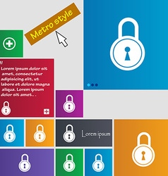 Closed lock icon sign buttons Modern interface vector