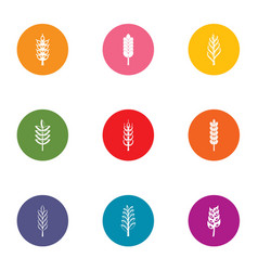 content of gluten icons set flat style vector image