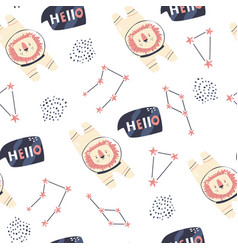 cosmic seamless pattern with cute lion astronauts vector image