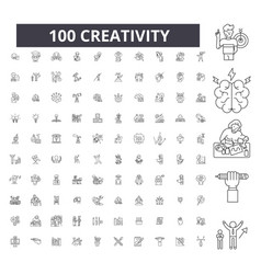 creativity editable line icons 100 set vector image