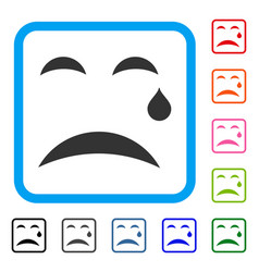 Cry smile framed icon vector