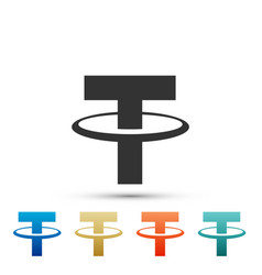 Cryptocurrency coin tether usdt icon isolated vector
