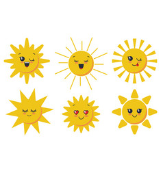 cute smiling sun faces for child design vector image