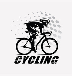Cycling race stylized symbol outlined cyclist vector
