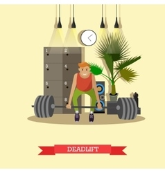 Deadlift Man working out in a gym Healthy vector