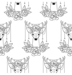 Deer and peonies seamless pattern vector