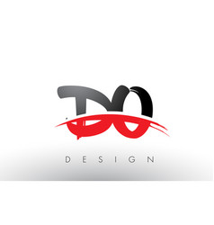 Do d o brush logo letters with red and black vector
