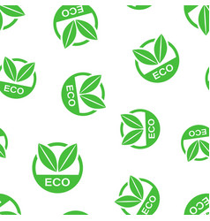 eco label badge icon seamless pattern background vector image