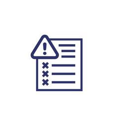Error report icon on white vector