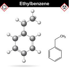 Ethylbenzene organic solvent molecular structure vector image