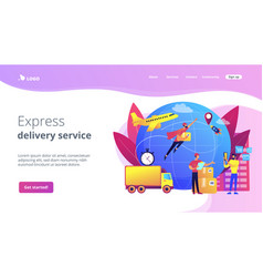 Express delivery service concept landing page vector