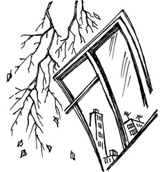 graphic stylized window with branch vector image