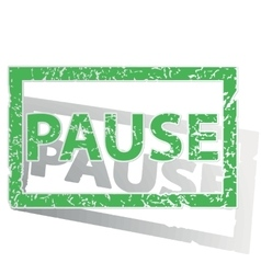Green outlined pause stamp vector