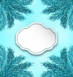 Greeting Card with Frame Made in Fir Twigs vector
