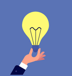 hand with light bulb businessman holding glowing vector image