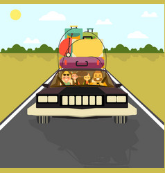 happy family go on vacation car with all their vector image