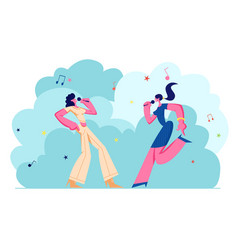 Happy female characters cheerfully singing songs vector