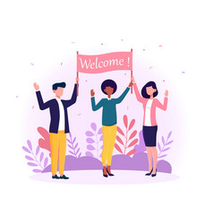 Happy multiracial man and women welcoming new vector