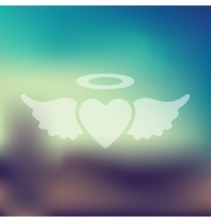 Heart angel icon on blurred background vector
