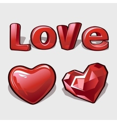 Heart ruby and word love romantic collection vector image