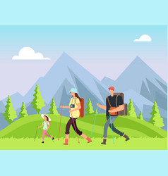 hiking family in nature trekking man woman and vector image