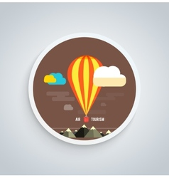 Hot Air Balloon Flying Over Mountain Round Banner vector