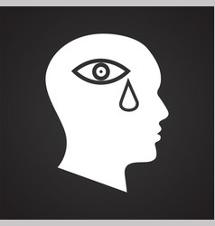 Human head sadness icon on black background for vector