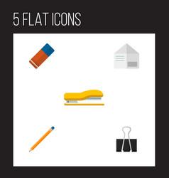 icon flat equipment set of pushpin stapler vector image